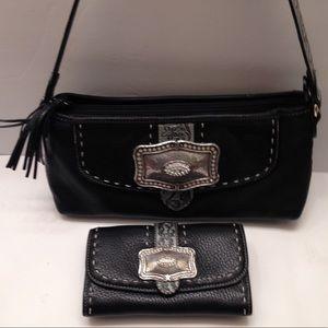 Brighton western embossed leather bag wallet set
